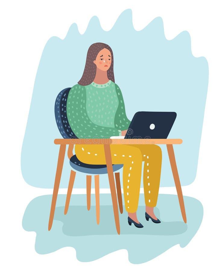 坐在膝上型计算机和啼声前面的女孩 皇族释放例证
