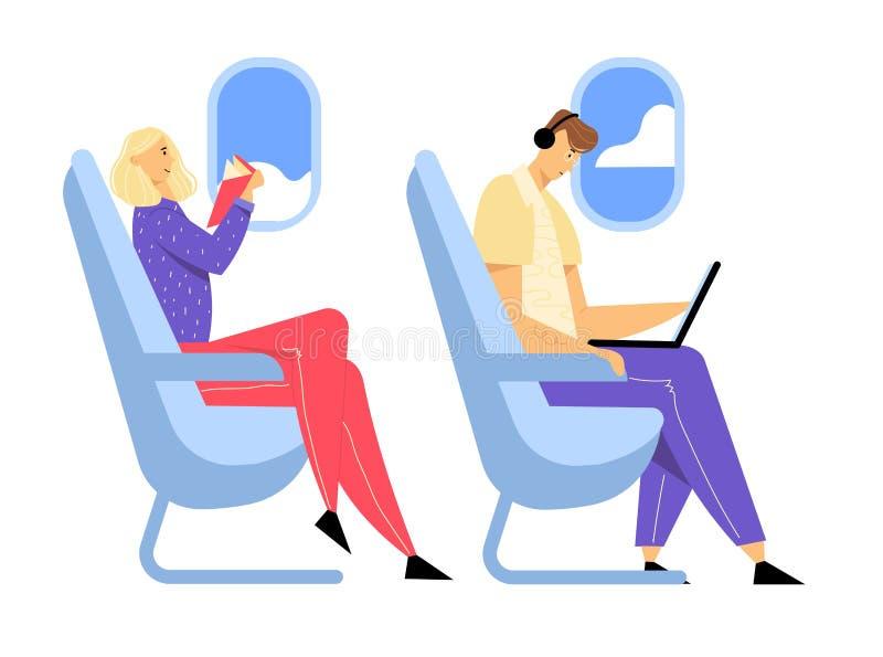 坐在舒适的飞机位子和研究膝上型计算机,妇女看书,乘客的年轻人佩带的耳机 皇族释放例证
