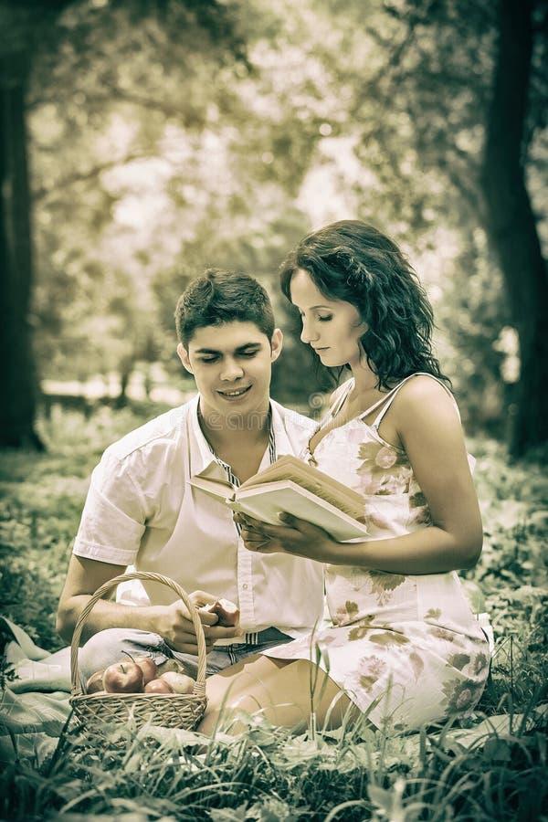 坐在草读书书的美好的夫妇 库存图片