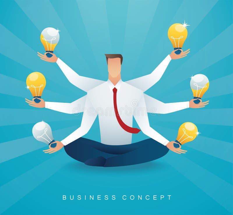 坐在莲花与电灯泡的姿势凝思的商人 创造性思为的概念 向量例证