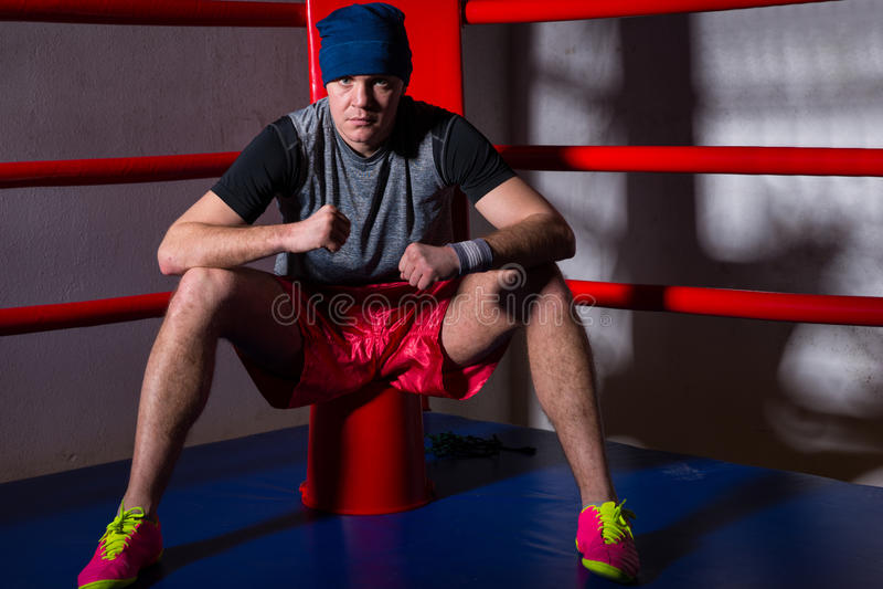 坐在规则拳击附近的红色角落的运动男性拳击手 库存图片