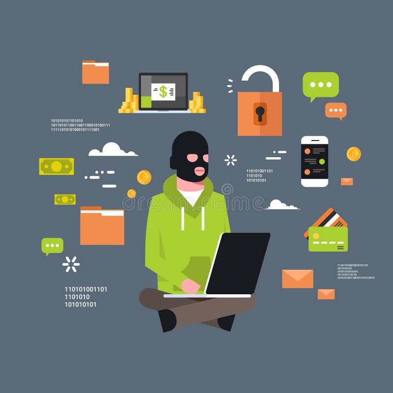 坐在计算机黑客活动概念病毒数据保密性攻击互联网信息安全的人黑面具 向量例证