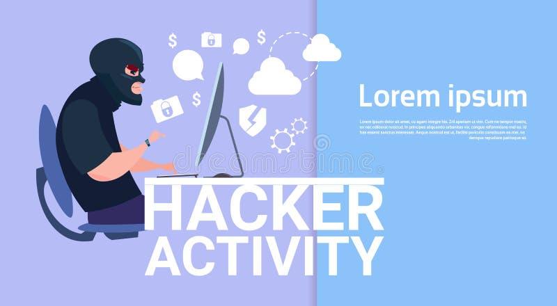 坐在计算机黑客活动概念病毒数据保密性攻击互联网信息安全的人 库存例证