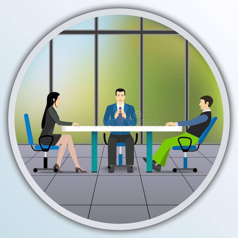 坐在谈判桌上的商人 向量例证