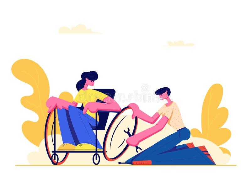 坐在轮椅,人修理轮子的年轻残疾妇女 爱,家庭,人际关系,伤残 男朋友和妨碍 皇族释放例证