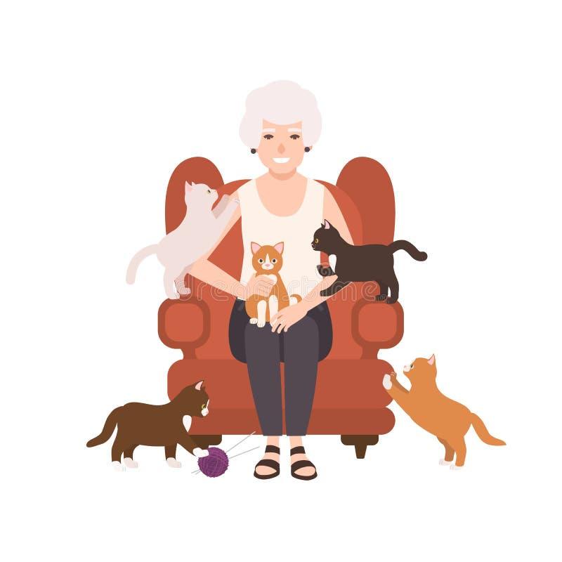 坐在轻松的扶手椅子的老愉快的夫人或祖母围拢由猫 祖母画象在家 微笑的女性 向量例证