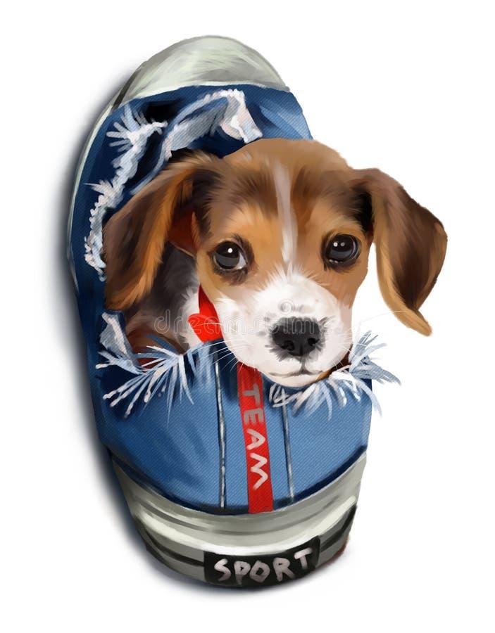 坐在运动鞋的小的达克斯猎犬 向量例证