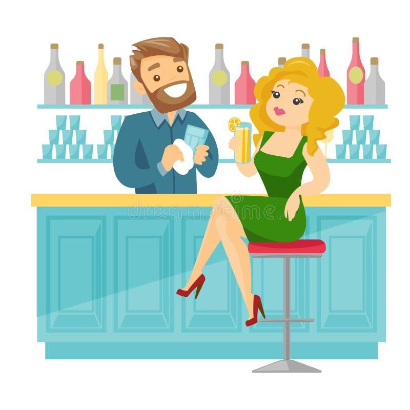 坐在酒吧柜台的白种人白人妇女 向量例证