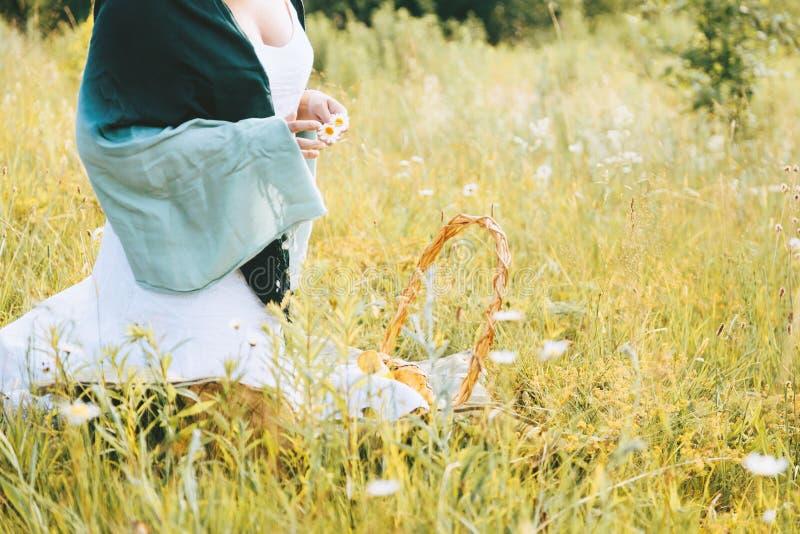 坐在野花和草本中的土气礼服的女孩在晴朗的草甸 免版税库存图片