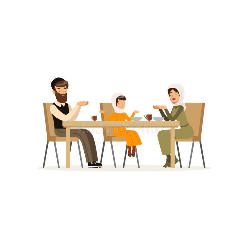 坐在饭桌上的回教家庭 母亲、有胡子的父亲和他们的女儿 人,妇女漫画人物和 向量例证