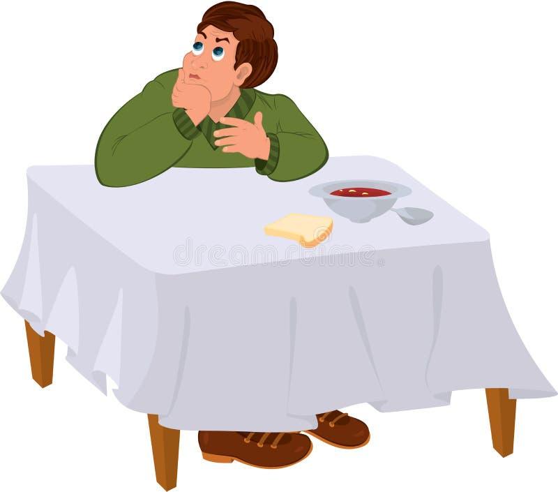 坐在饭桌下的绿色毛线衣的动画片人 库存例证