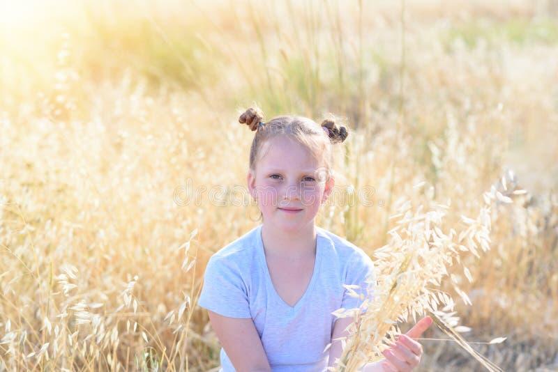 坐在麦田的逗人喜爱的白肤金发的女孩 免版税库存照片