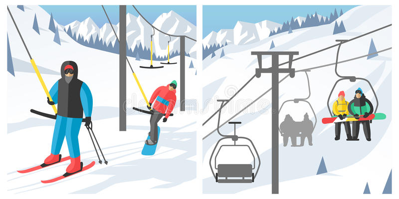 坐在滑雪长平底船和推力电梯冬季体育手段雪板人休息举的跃迁传染媒介的挡雪板 皇族释放例证