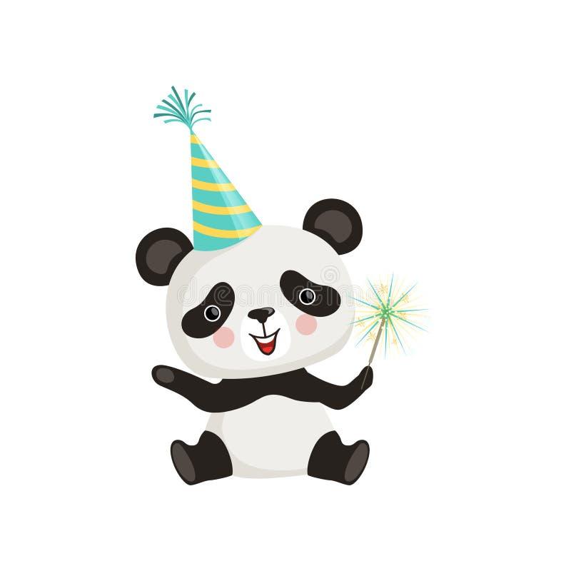 坐地板和拿着闪闪发光棍子的滑稽的小熊猫 在党帽子的动画片竹熊 平的传染媒介设计为 向量例证