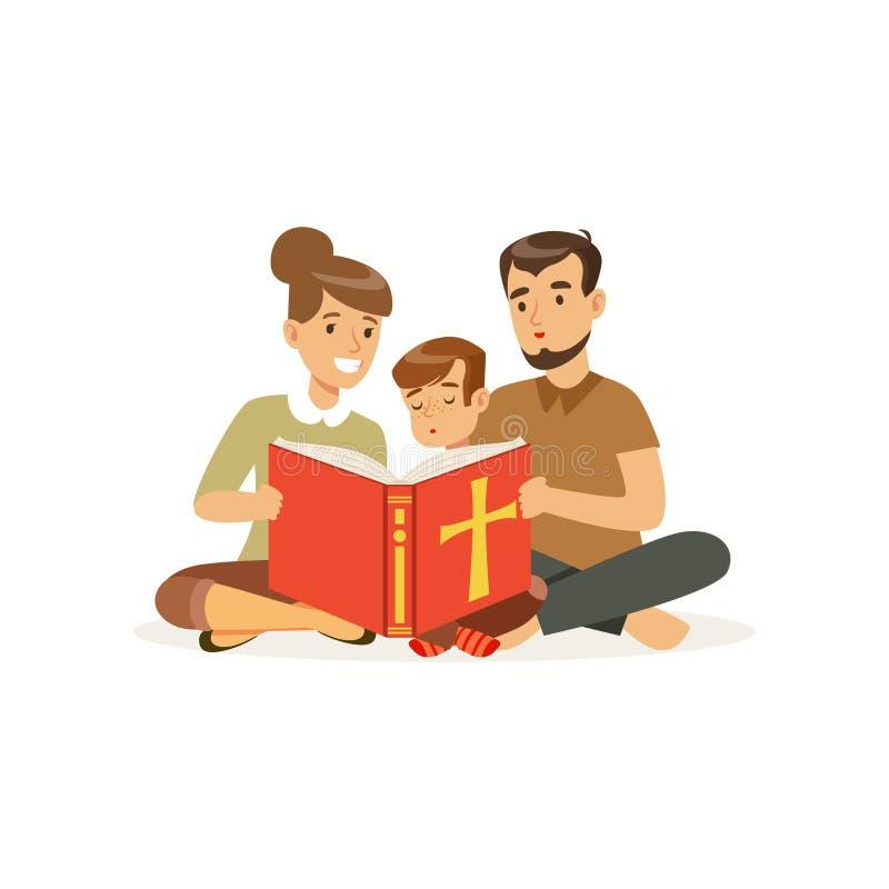 坐地板和读圣经的母亲、父亲和儿子 宗教家庭 父项和子项 漫画人物儿童五颜六色的图象例证 向量例证
