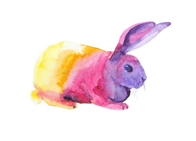 坐多色复活节兔子的水彩例证 r 库存照片