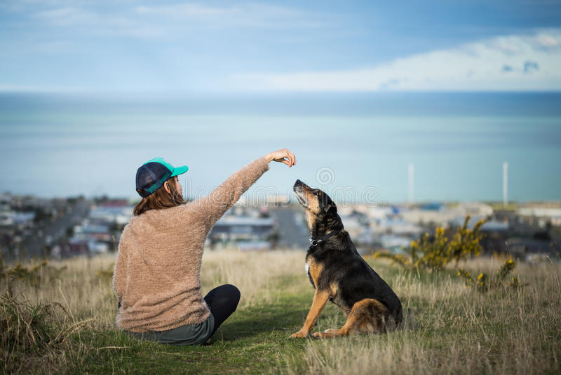 坐她的狗的妇女 库存图片