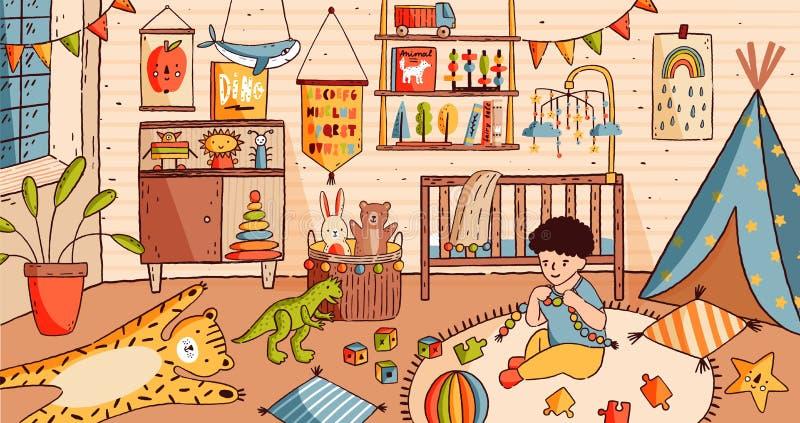 坐婴孩室地板和使用与玩具的逗人喜爱的小男孩 孩子在充分托儿所家具和家 向量例证