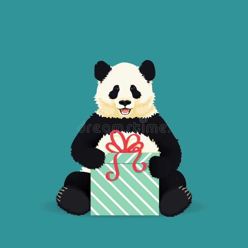 坐微笑的大熊猫拿着礼物 黑白中国熊 向量例证