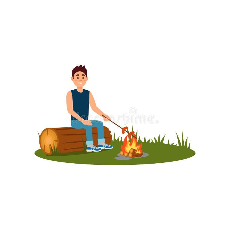 坐日志和烹调香肠的年轻微笑的人在营火 在自然的休闲 室外的活动 平的传染媒介 向量例证