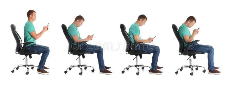 坐椅子和使用手机的人拼贴画反对白色背景 图库摄影