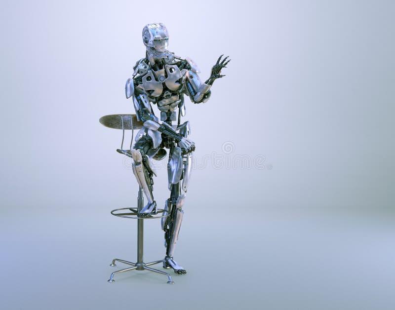 坐椅子和拿着大模型的一个男性有人的特点的机器人、机器人或者靠机械装置维持生命的人 3d例证 皇族释放例证