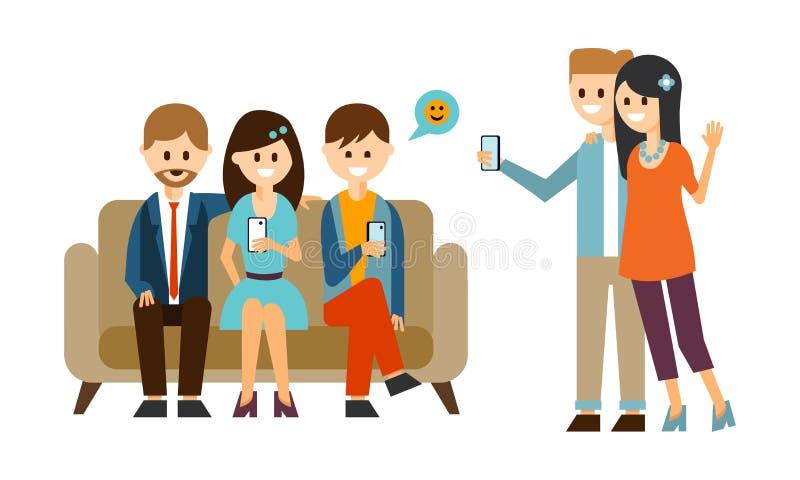坐沙发和使用手机的小组年轻人 做与智能手机的夫妇selfie 平的传染媒介设计 皇族释放例证