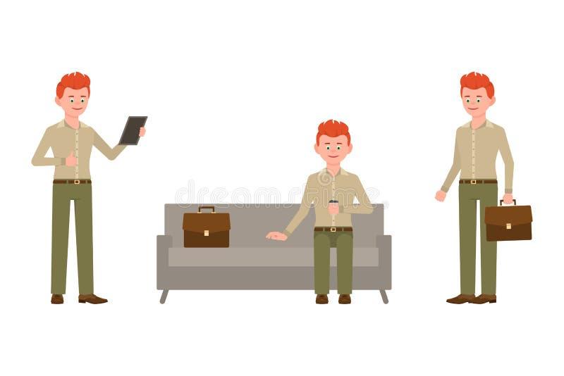 坐沙发,饮用的咖啡,使用片剂,站立的红色头发男孩卡通人物 皇族释放例证