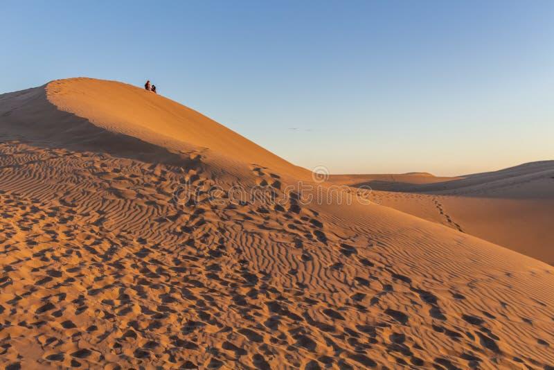 坐沙漠沙丘在日落的大加那利岛 免版税库存图片