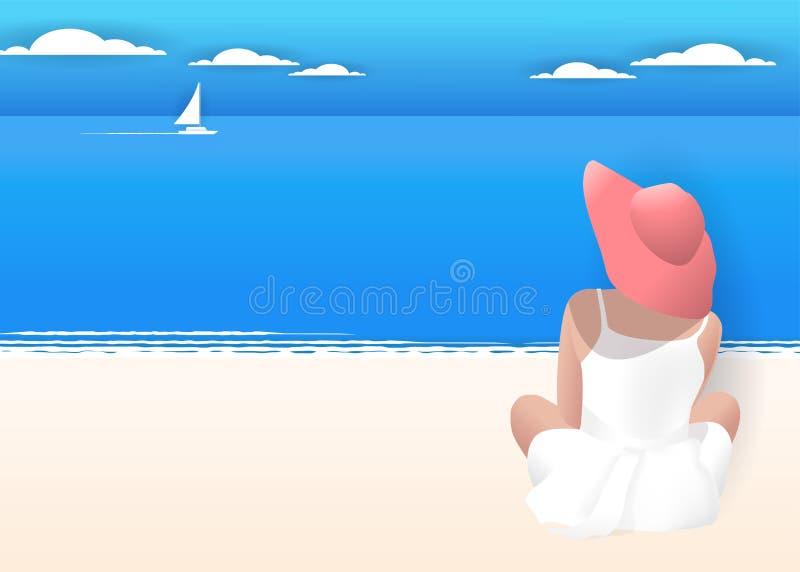 坐海滩和看海的帽子的端庄的妇女 夏天背景,纸削减了颜色淡色减速火箭的样式 传染媒介Illust 皇族释放例证