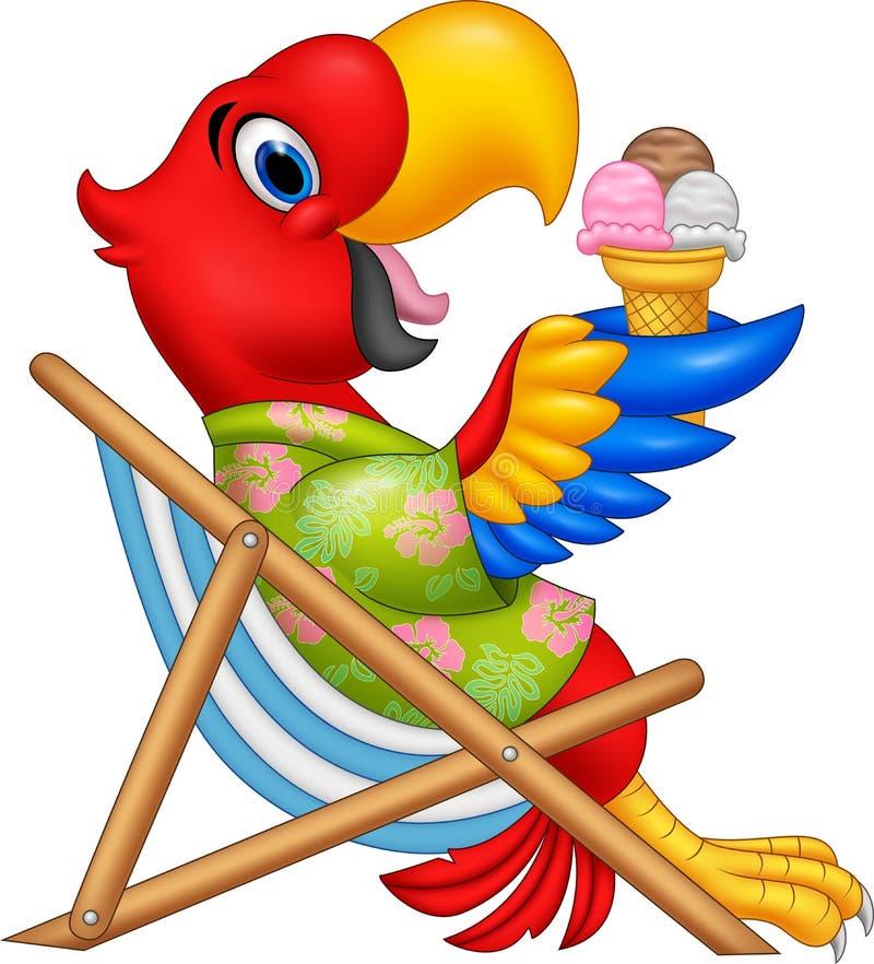坐海滩睡椅和吃冰淇凌的动画片金刚鹦鹉 向量例证