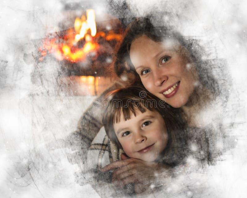 坐由壁炉的母亲和女儿 图库摄影
