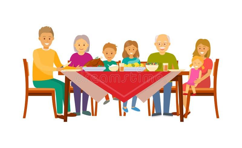 坐由表的大家庭圣诞晚餐 库存例证
