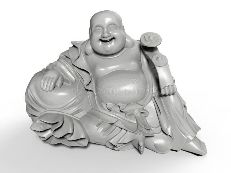 坐的愉快的菩萨雕象 向量例证