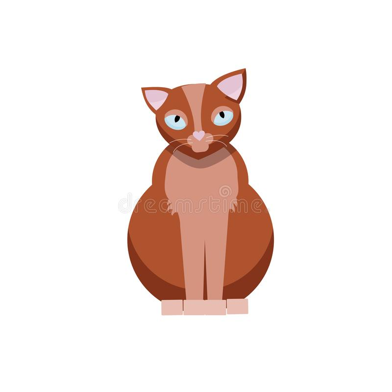 坐的逗人喜爱的猫 在白色背景隔绝的布朗全部赌注平的动画片传染媒介illustraton 库存例证