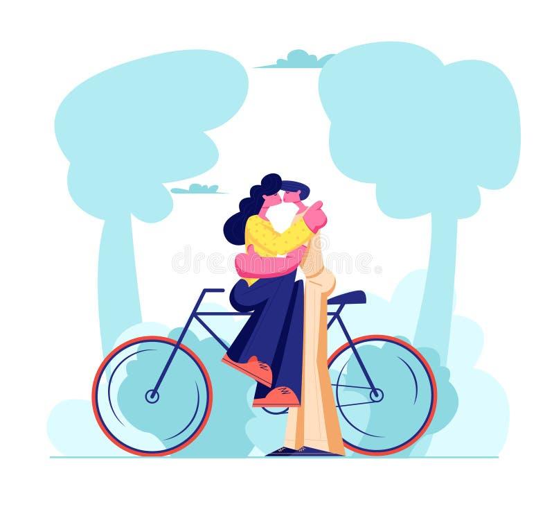 坐自行车和亲吻户外的年轻爱恋的夫妇 浪漫人际关系,爱情故事,在蜜月的新婚佳偶家庭 向量例证