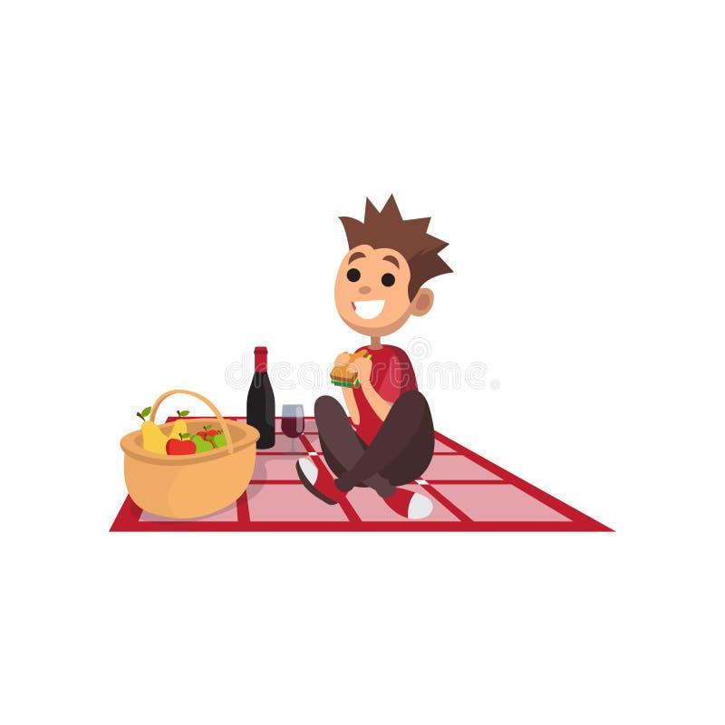 坐野餐格子花呢披肩和吃三明治的年轻愉快的男孩 平的漫画人物吃午餐在公园 向量 皇族释放例证