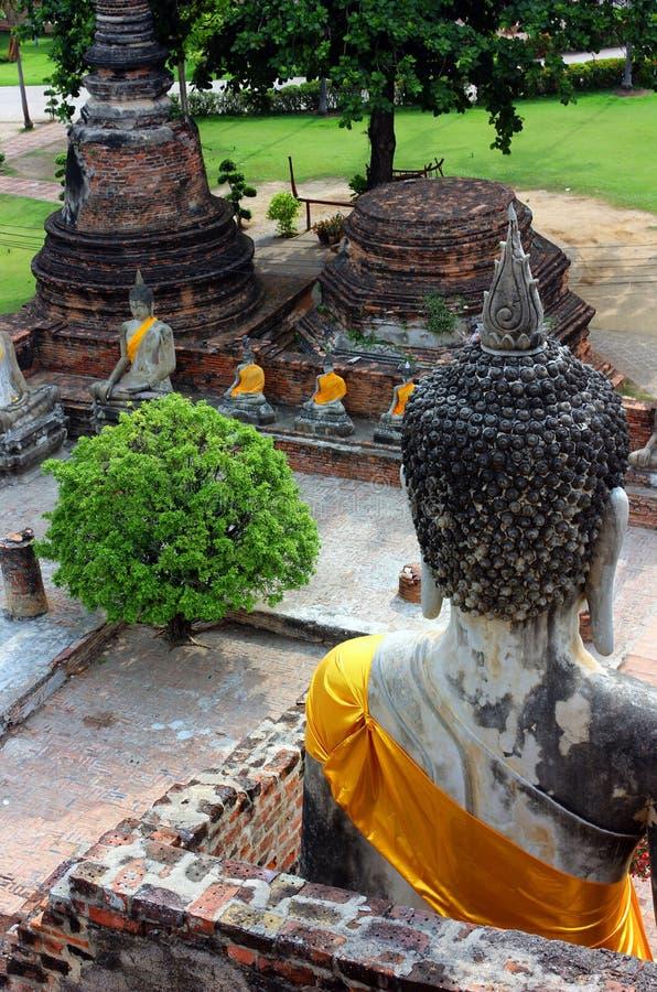 坐,在Wat亚伊Chaimongkol在阿尤特拉利夫雷斯国立公园,泰国的菩萨古老雕象 库存照片
