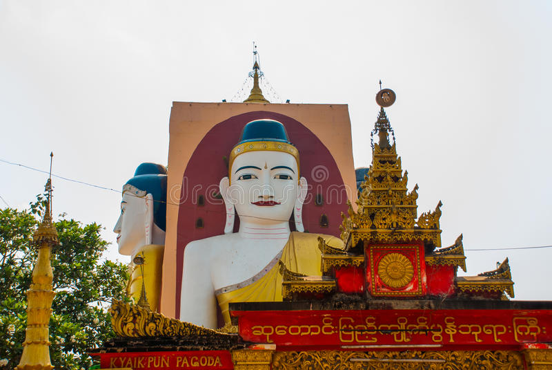 Download 坐Buddhas四个雕象  塔Kyaikpun菩萨 Bago,缅甸 缅甸 库存照片 - 图片 包括有 寺庙, 圣洁: 72363816