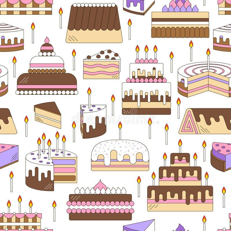 结块与蜡烛传染媒介象线无缝的样式 被设计的点心例证甜鲜美 生日快乐婚礼聚会庆祝食物silh 向量例证