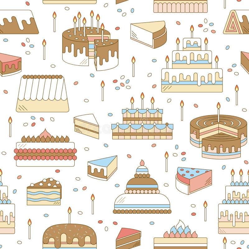 结块与蜡烛传染媒介象线无缝的样式 被设计的点心例证甜鲜美 生日快乐婚礼聚会庆祝 向量例证