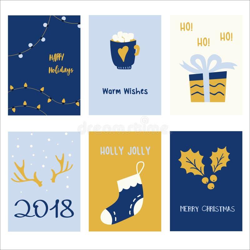 6块假日卡片模板的汇集 被设置的圣诞节海报 库存例证