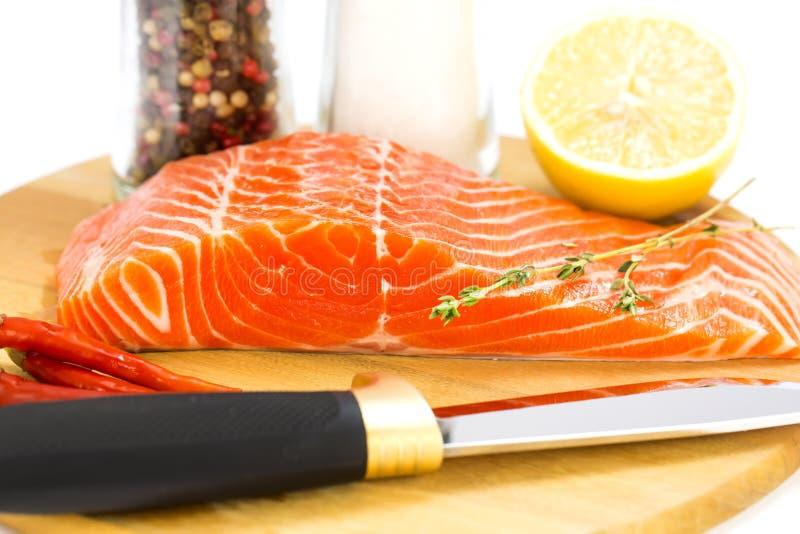 1块原始的鲑鱼排 库存图片