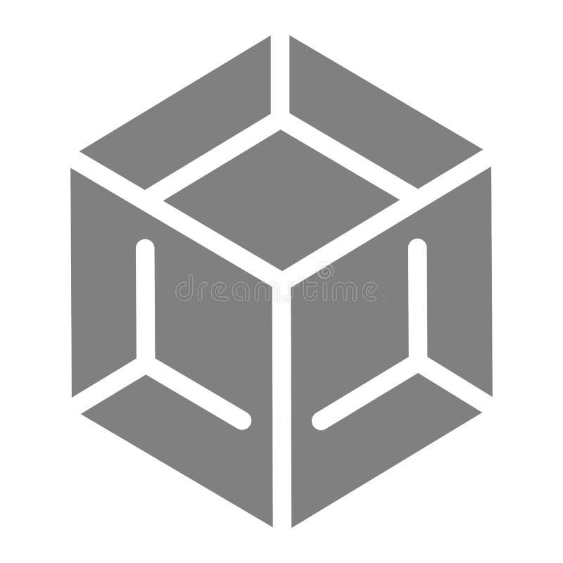 块固体象 立方体在白色隔绝的传染媒介例证 箱子纵的沟纹样式设计,设计为网和app 10 eps 皇族释放例证