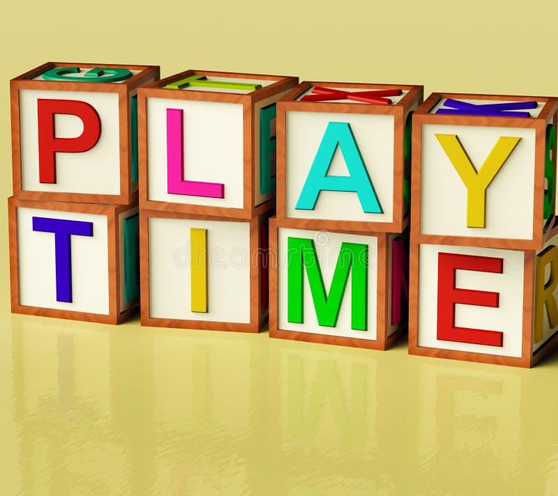 块孩子演奏拼写时间 库存例证