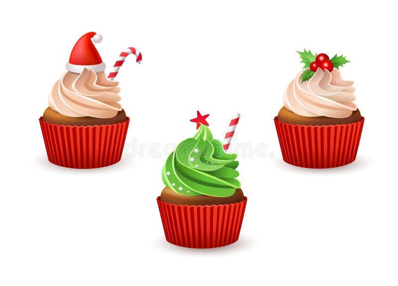 结块干酪圣诞节结霜红色天鹅绒的奶油杯形蛋糕 向量例证
