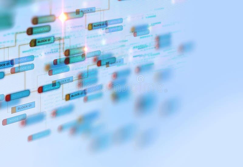 块式链在技术背景的网络概念 免版税库存照片