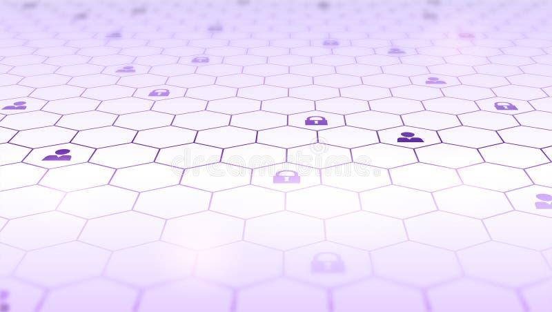 块式链的概念捕捉 技术信息传递在真正空间的和blockchain网络 分布  皇族释放例证