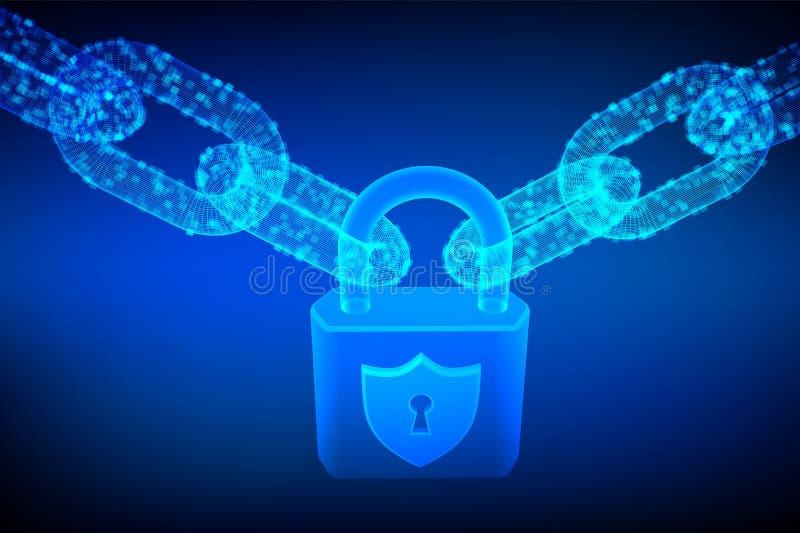 块式链 锁定 网络安全、保险柜、保密性或者其他概念 3D与数字式块的wireframe链子 Blockchain概念 edi 库存例证