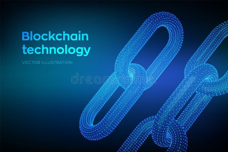 块式链 隐藏货币 超链接链子 Blockchain概念 3D与数字式代码的wireframe链子 与双的链节 皇族释放例证